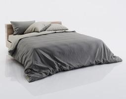 Dark and grey bed linen 3D model
