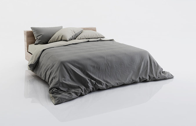 Dark and grey bed linen 3d model cgtrader for Cama 3d max