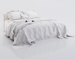 3D model White bed linen with cushions