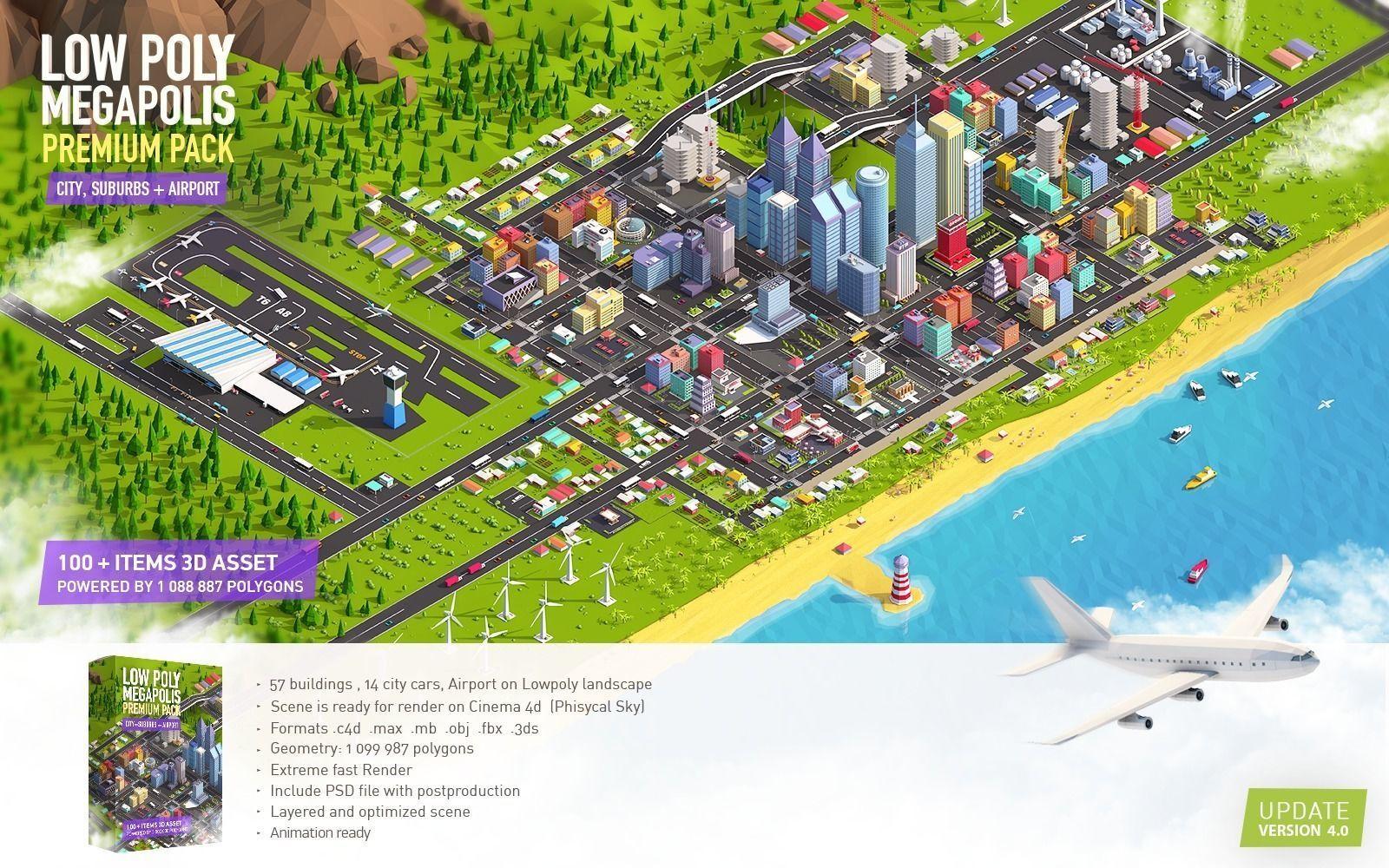 Low Poly Megapolis City Premium Pack