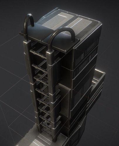 modular sci-fi ladders basic version 3d model low-poly obj mtl 3ds fbx stl blend dae 1