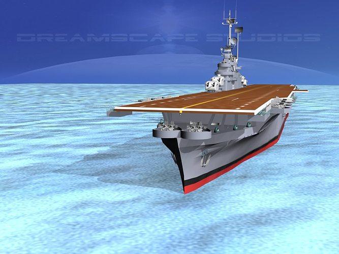 ticonderoga class carrier cv-15 uss randolph 3d model rigged animated max 3ds lwo lw lws dxf stl 3dm 1