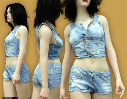 Summerwear Jeans Top and Short 3D model