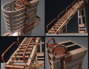 3D asset Modular Wood Ladders and Stairs Pack