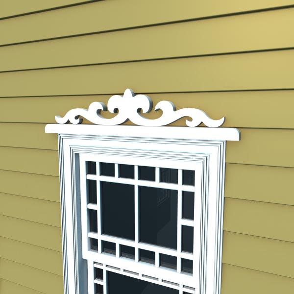 Window header 1 3d model max obj fbx ma mb for Window models for house photos