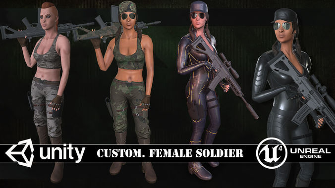 customizable female soldiers classic and modern style 3d model low-poly rigged animated max fbx dae tga 1