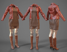 Fashion Outfit Brown 3D model