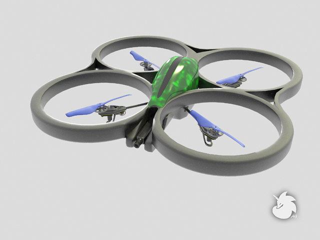 parrot ar drone 3d model rigged max fbx 1