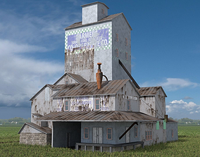 Old Grain Elevator 3D asset low-poly