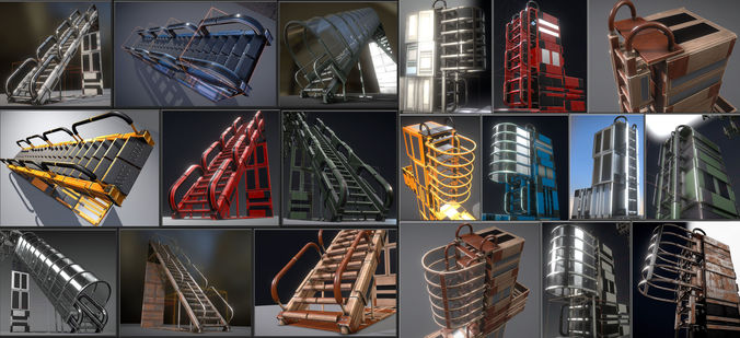 futuristic ladders and stairs set - all available pbr textures  3d model low-poly obj mtl 3ds fbx dxf stl blend 1