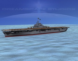 animated ticonderoga class carrier cv-33 uss kearsage 3d