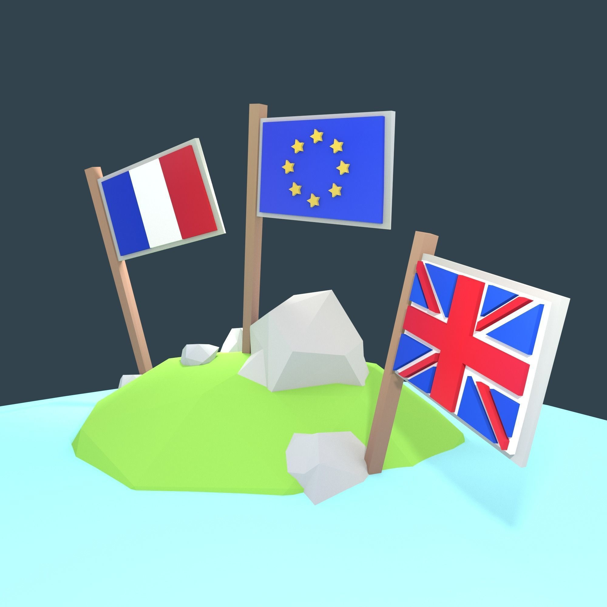 Stylized low poly flags - Exit EU Package