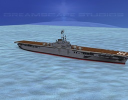 ticonderoga class carrier cv-36 uss antietam animated 3d model