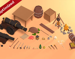 Low Poly Pirate Prop Pack 3D asset