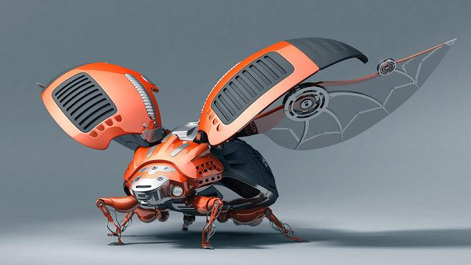 ladybug robot 3d model obj ma mb 1