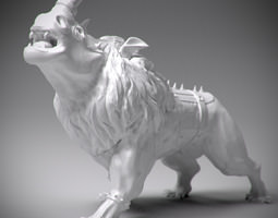 3D print model Lion with rhino head statue