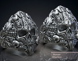 Ring Skull Biomechanics Victorian STL 3d model for 3d 1