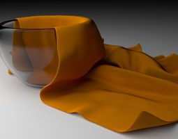 Glass Bowl With a Cleaning Towel 3D model