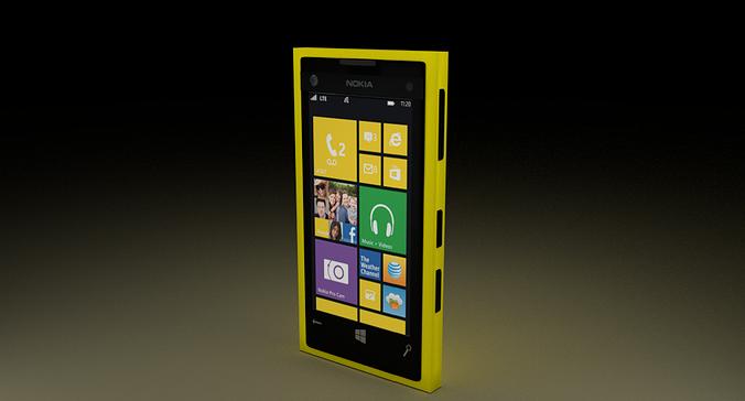 nokia lumia 1020 yellow 3d model blend 1