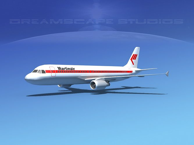 airbus a320 lp martinair 3d model low-poly max obj 3ds lwo lw lws dxf stl 1