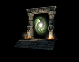 low-poly 3d model ancient portal gate