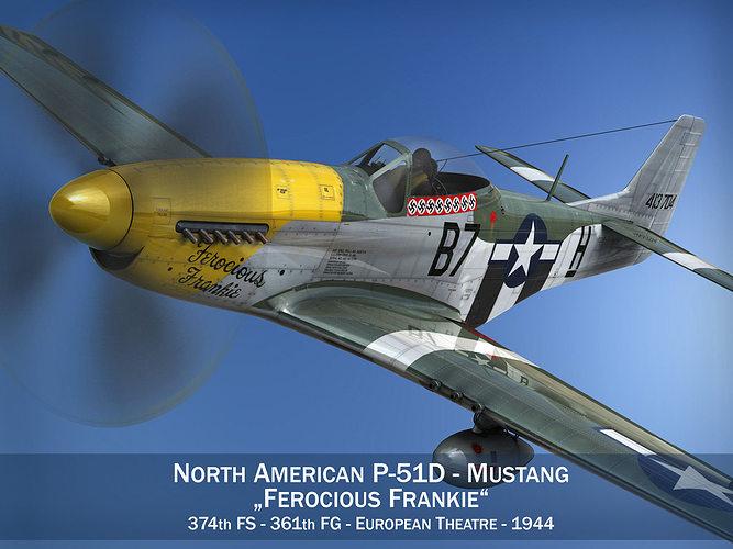 North American P 51d Mustang Ferocious Frankie 3d Model