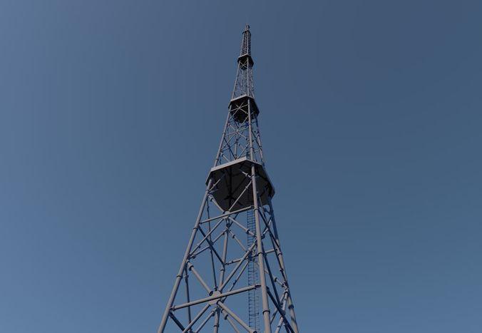 tv tower 3d model max obj mtl fbx c4d 1