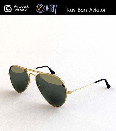 7183afd16a Ray ban Aviator 3D model