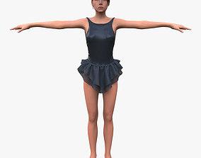 Girl in black dress 3D model