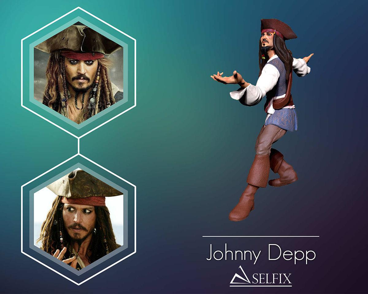 Johnny Depp 3D Model ready for 3d print