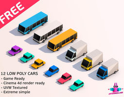3D asset Cartoon Low Poly City Cars Pack