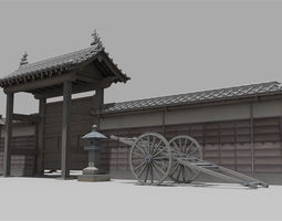 Gate of the temple in Japan typeA 3D asset