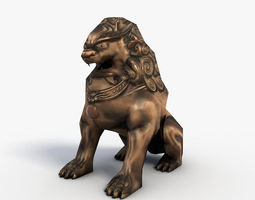 realtime chinese guardian lion 3d model