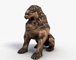 chinese guardian lion 3d model low-poly max obj 3ds fbx c4d