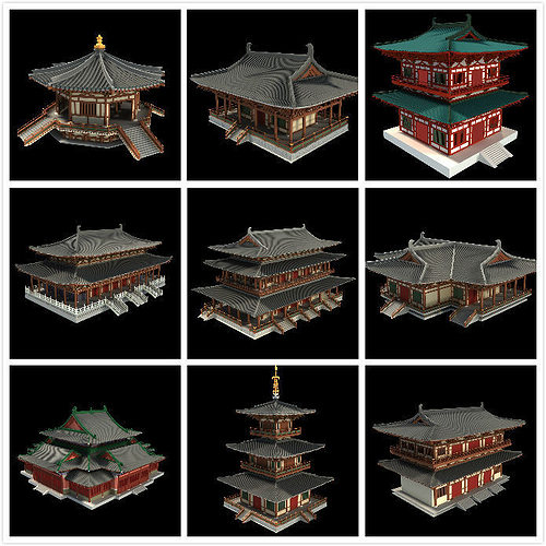 Oriental Asian Temple Collection 3D Model