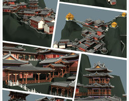 chinese classical temple in the mountains 3d model