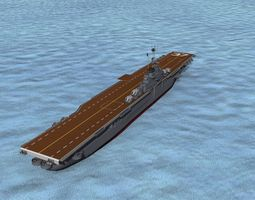 rigged 3d ticonderoga class carrier cv-37 uss princeton