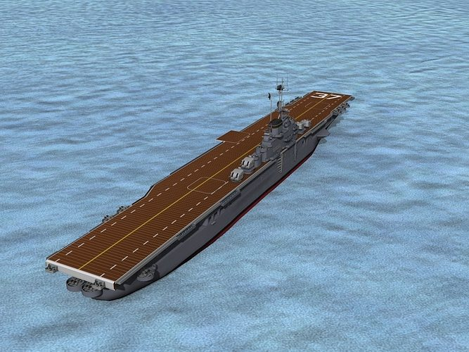 ticonderoga class carrier cv-37 uss princeton 3d model rigged max obj 3ds lwo lw lws dxf stl 1