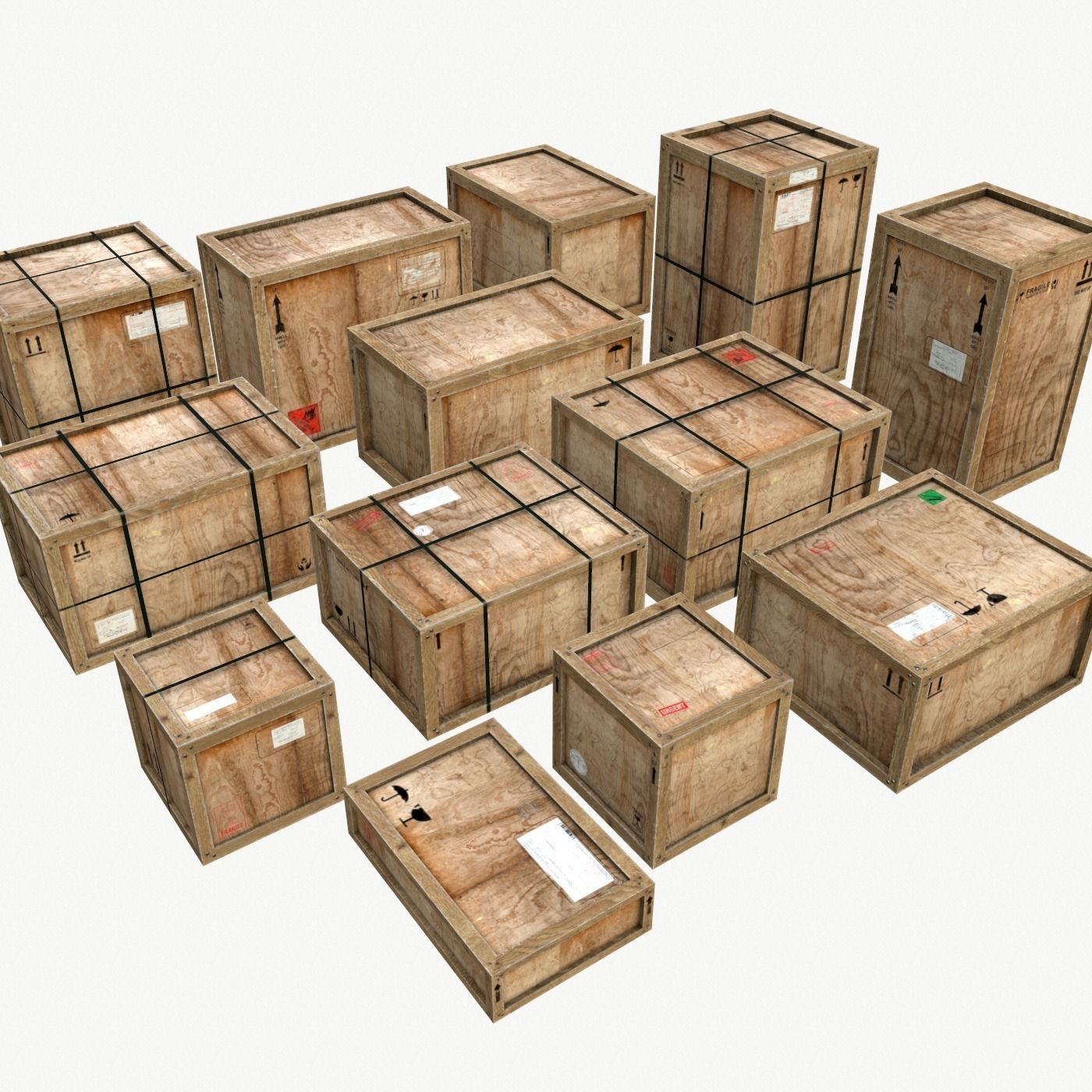 Old Wooden Cargo Crates PBR