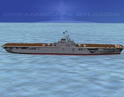 ticonderoga carrier cv-45 valley forge 3d model rigged animated max obj 3ds lwo lw lws dxf stl