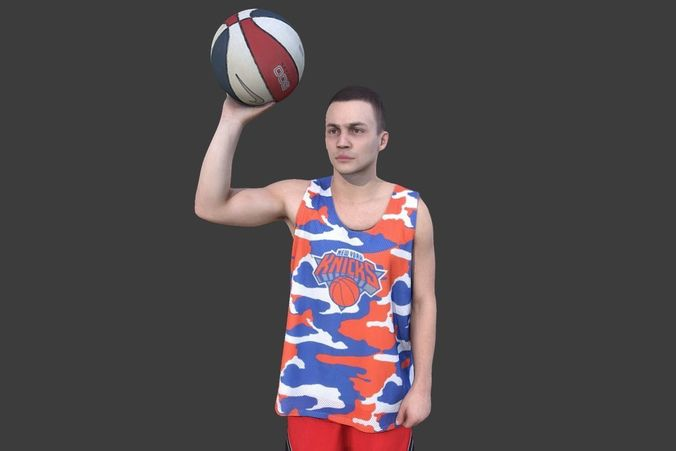 basketball player with a ball 3d model low-poly max obj mtl fbx 1