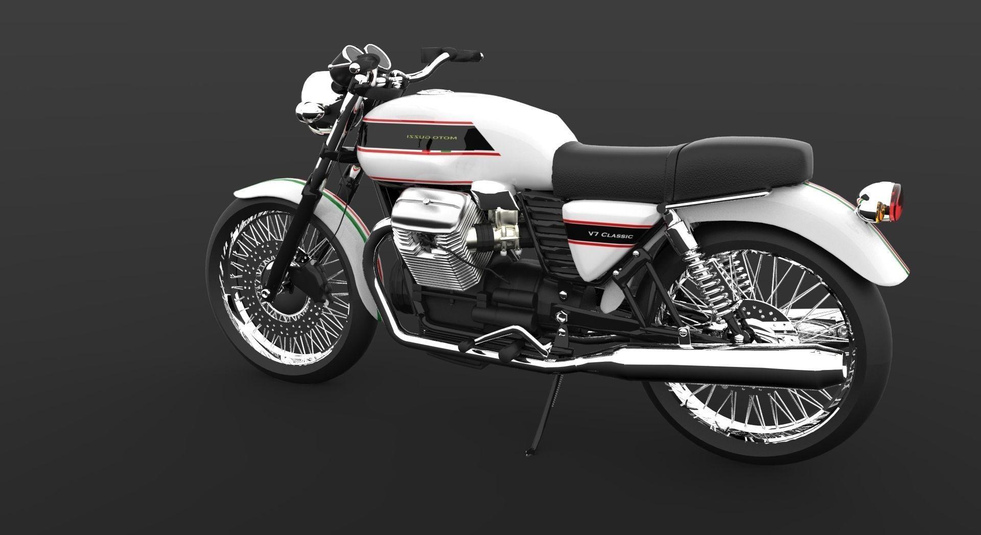 moto guzzi v7 classic cafe racer 3d model obj 3dm cgtrader. Black Bedroom Furniture Sets. Home Design Ideas