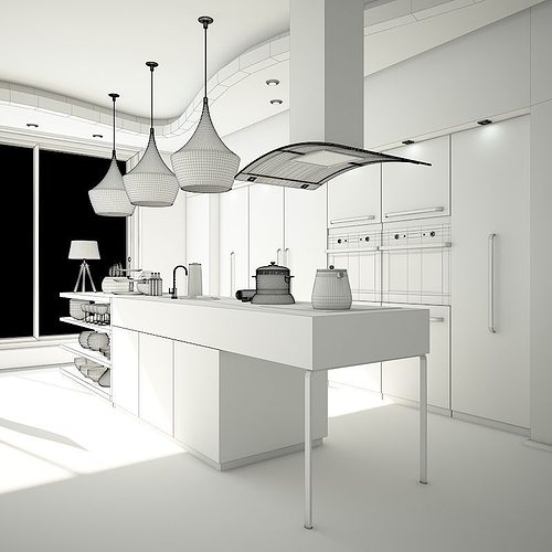 Kitchen dining and living room 3d model max obj 3ds for Kitchen room model