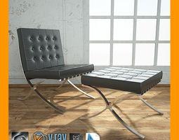 3D model Barcelona Chair With Ottoman