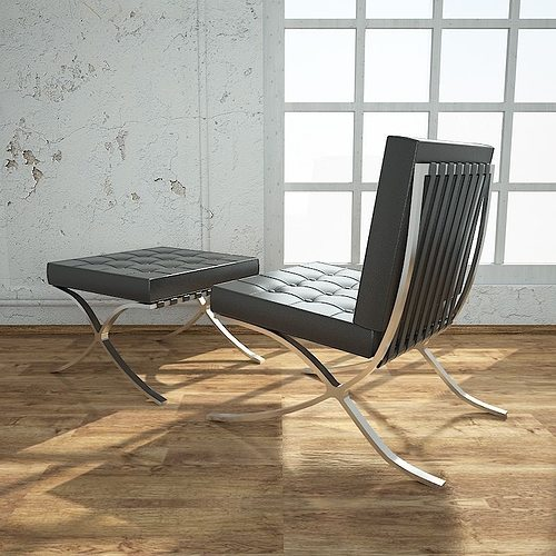 Superbe ... Barcelona Chair With Ottoman 3d Model Max Obj 3ds Fbx Dxf 4 ...