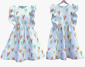 Fluffy Ice-Cream Dress 3D model