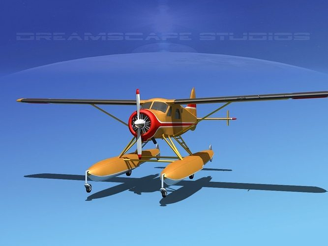 dehavilland dhc-2 beaver v14 3d model max obj mtl 3ds lwo lw lws dxf stl 1