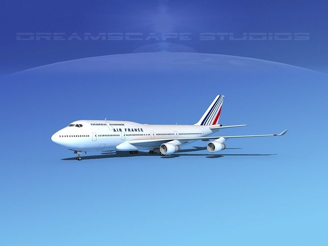 boeing 747-400 air france 3d model max obj mtl 3ds lwo lw lws dxf stl 1
