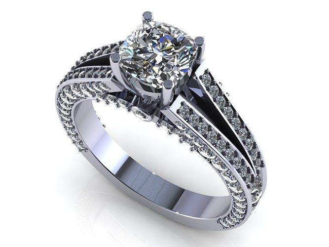 round pave diamond ring 3d model stl 1
