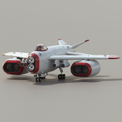 d-1 space superiority fighter hd 3d model rigged animated obj mtl 3ds blend 1